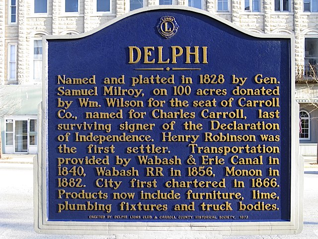 Delphi Historical Marker in Carroll County Indiana