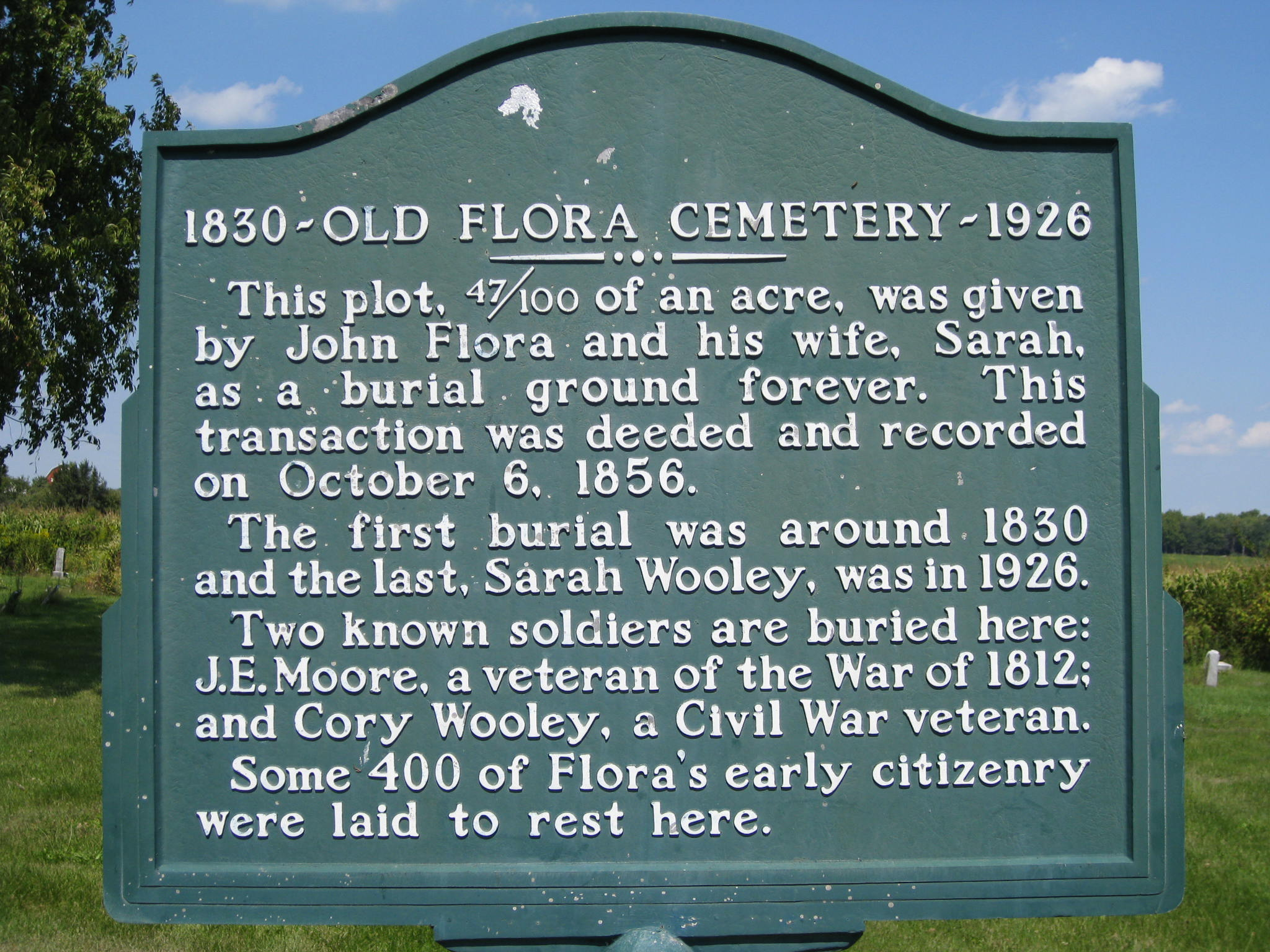 Old Flora Cemetery Historical Marker in Carroll County Indiana