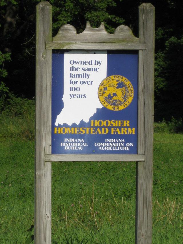 Hoosier Homestead Farm Sign in Carroll County Indiana