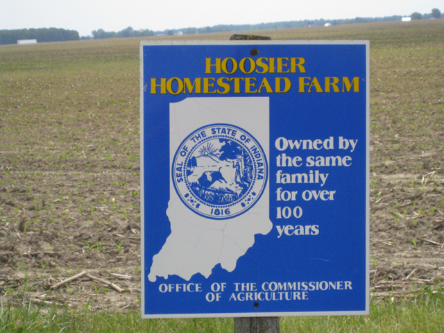 Hoosier Homestead Sign in Carroll County Indiana