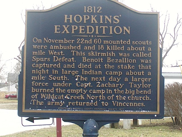 1812 Hopkins Expedition Historical Marker in Carroll County Indiana