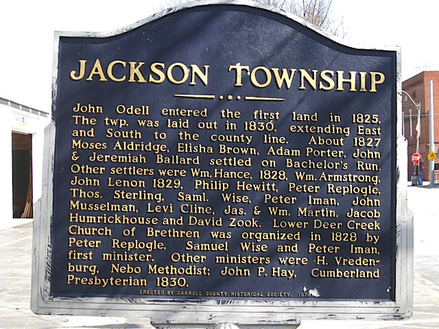 Jackson Township Historical Marker in Carroll County Indiana