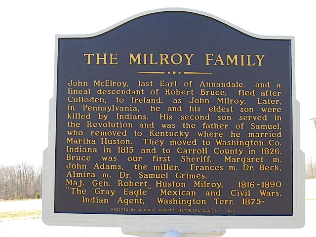 The Milroy Family Historical Marker in Carroll County Indiana