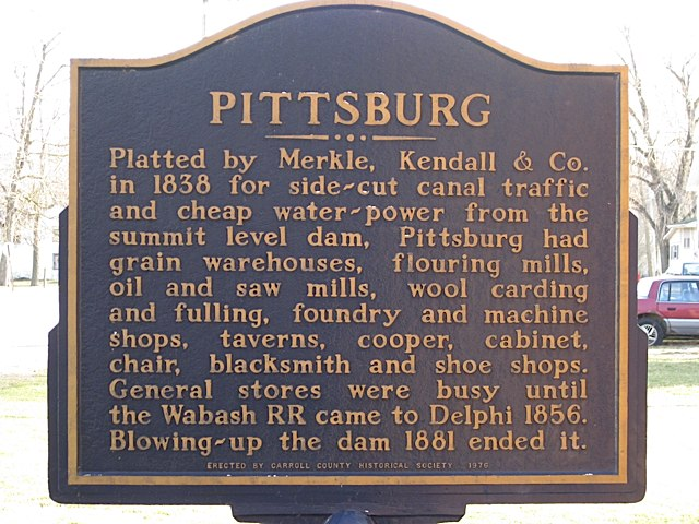 Pittsburg Historical Marker in Carroll County Indiana