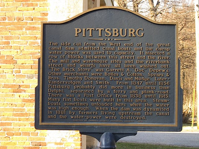 Pittsburg Historical Marker at Canal in Carroll County Indiana