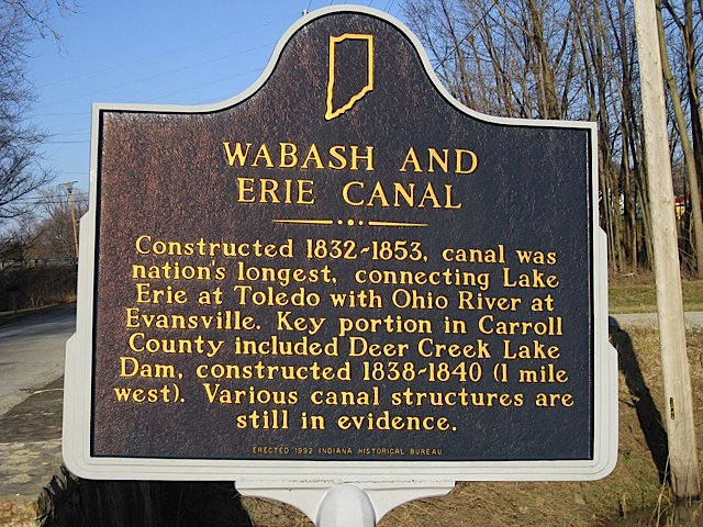 Wabash & Erie Canal Historical Marker in Carroll County Indiana