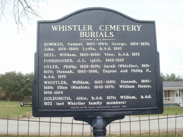 Whistler Cemetery Burials Historical Marker in Carroll County Indiana