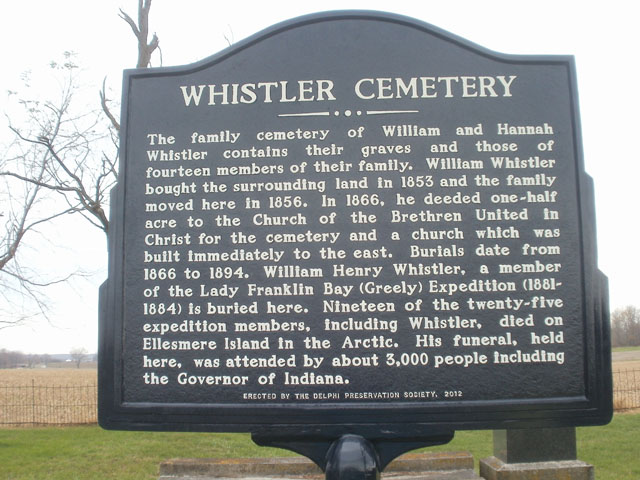 Whistler Cemetery Historical Marker in Carroll County Indiana