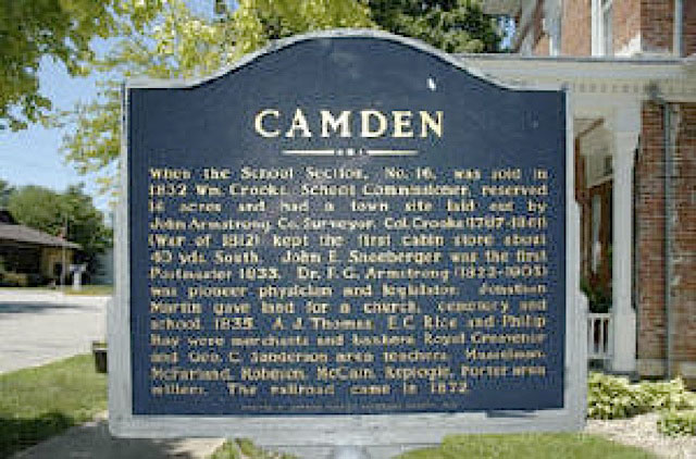 Camden Historical Marker in Carroll County Indiana