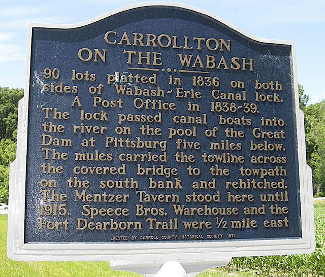 Carrollton on the Wabash Historical Marker in Carroll County Indiana