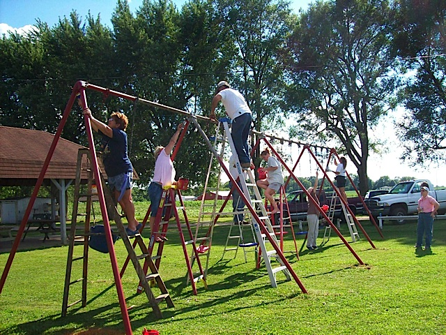 Setting Up Playground at Deer Creek Park in Carroll County Indiana