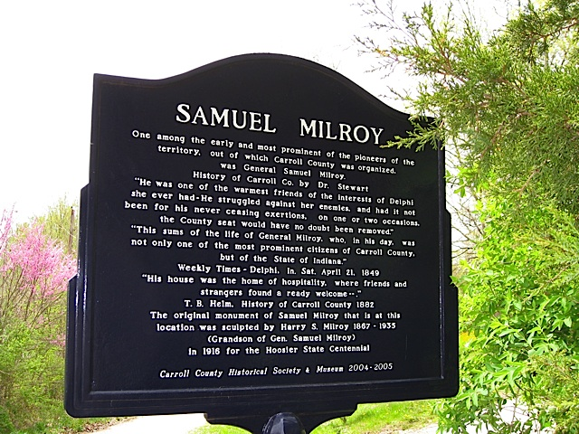 Samuel Milroy Historical Marker in Carroll County Indiana