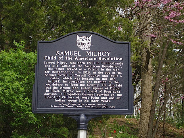 Samuel Milroy – Child of the American Revolution Historical Marker in Carroll County Indiana